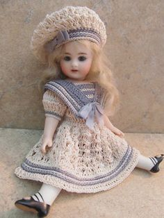 "VICTORIAN STYLE CROCHETED SAILOR DRESS SET FOR 7""- 7 1/2""ALL BISQUE DOLL by Tina (08/25/2013)"
