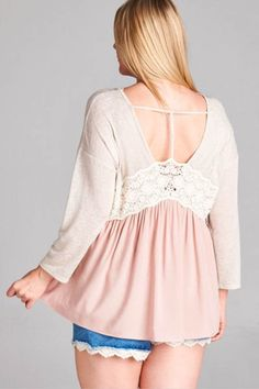 V-Neckline with Lace Trim T-Back Top