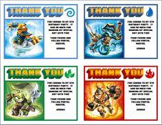 Skylanders Personalized (4) Thank You Postcards UPrint - Swap Force Pack 1