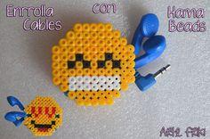 enrolla cables hama beads perler pissla headphone cord organizer emoji emoticons whatsapp chat how to diy hazlo tu mismo