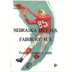 Vintage 1954 Football Program Nebraska City vs Fairbury Nebraska High School