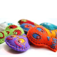 Hand Embroidered Day of the Dead or Halloween Colorful Sugar Skull Plush Felt Garland * Details can be found by clicking on the image.