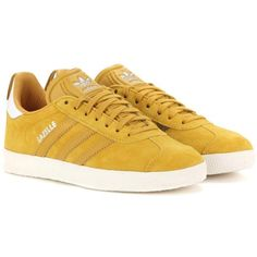 Adidas Originals Gazelle Suede Sneakers (310 AED) ❤ liked on Polyvore featuring shoes, sneakers, yellow, yellow suede shoes, suede leather shoes, adidas originals trainers, suede sneakers and yellow shoes