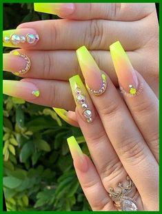 Neon Yellow Nails, Neon Nail Art, Yellow Nails Design, Yellow Nail Art, Neon Nails, Gold Nails, Pink Nails, Fancy Nails, Best Acrylic Nails