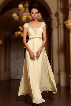 e0ab49efef DORISQUEEN cap sleeves V-neck beaded long champagne formal evening gowns