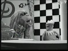 Kermit the frog and Clifford black and white