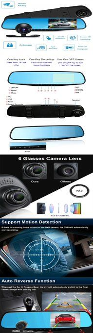 """4.3"""" HD 1080P Dual Lens Rearview Camera Mirror Car DVR Dash Cam Recorder   #DualLens #Rearview #Camera #Mirror #Car #DVR #CamRecorder #Security #Gadgets #Safety #Driving #popular"""