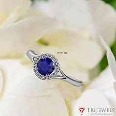 The perfect complement to your choice with center sapphire. - EXTRA 10% OFF #Blue #Sapphire #Diamond #Halo #Engagement #Ring #finejewelry #jewelryforwomens #giftforher #gift #love #trijewels