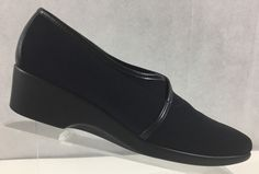 b734a4f2148c0 Munro American Women Walking Wedge Black Fabric Slip on Loafer Shoe 8.5N  #Munro #