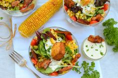 With the weather warming up, it's time to eat outside and make salads! This Homestyle Ranch & Bacon Cornbread Panzanella salad that is. Made with homemade cornbread.