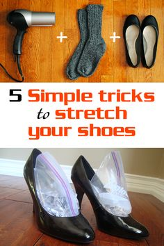5 simple tricks to stretch your shoes If you have just bought a pair a shoes and it seems to pinch your toes, here are 5 simple tricks to stretch them. Only simple and natural methods here: How To Strech Shoes, How To Stretch Boots, Stretch Leather Shoes, Leather Boots, Stretch Shoes, Satin Shoes, Strappy Shoes, Tights And Boots, Shoe Boots