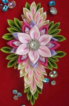 Wonderful Ribbon Embroidery Flowers by Hand Ideas. Enchanting Ribbon Embroidery Flowers by Hand Ideas. Satin Ribbon Flowers, Cloth Flowers, Ribbon Art, Diy Ribbon, Ribbon Crafts, Felt Flowers, Flower Crafts, Diy Flowers, Fabric Flowers