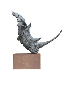 #Bronze #sculpture by #sculptor Keith Calder titled: 'White Rhino (Stylised Modern Head Bust sculptures)'. #KeithCalder