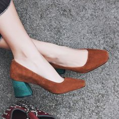 Chiko Jenna Square Toe Block Heel Pumps feature square toe, suede upper, comfortable block heel with rubber sole.