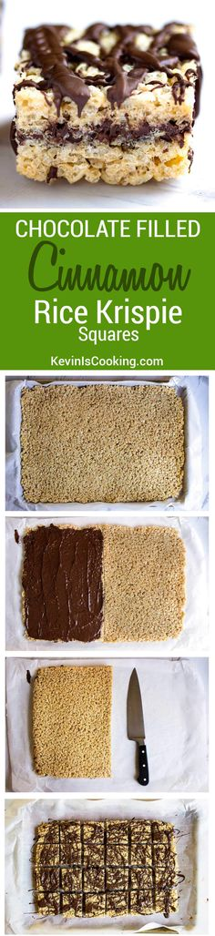 These Chocolate Cinnamon Rice Krispie Squares are ridiculously delicious and addictive. 2 layers of Rice Krispie treats with melted chocolate inside and on top!. A HUGE hit!