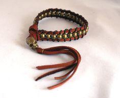 Skull & Buckskin Biker Bracelet with Tassel by KOOHI. Tan & Antique Brass #rocknroll