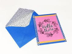 Create a beautiful and cheery greeting card just to say hello. The Vividly Bright Hello There Card is easy to make and so delightful! Embossing Machine, Embossing Folder, Recycled Paper Crafts, Fun Crafts, Card Crafts, Craft Projects, Craft Ideas, Embossed Paper, Card Stock