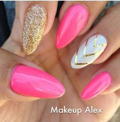 Pink & white with gold