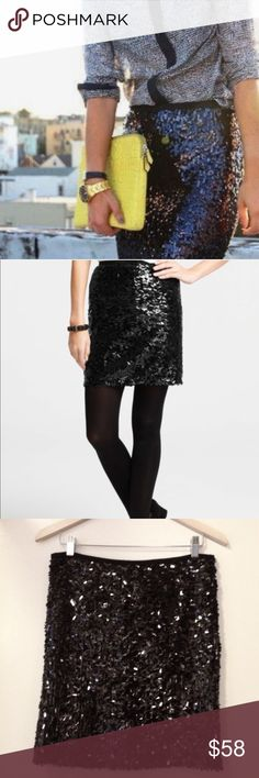 Ann Taylor Black Pinwheel Sequin Pencil Skirt Gorgeous black Pinwheel Sequin Pencil skirt by Ann Taylor. Rear zip. Fully lined. Size 4. New without tag. Ann Taylor Skirts