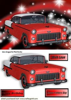 RED CHEVY BEL AIR CAR IN RED STARLIGHT on Craftsuprint - Add To Basket!