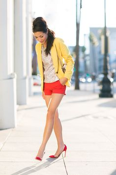 Color Burst :: Sequin Top & Yellow Blazer ( Blazers & Sequins Shirts & Blouses )