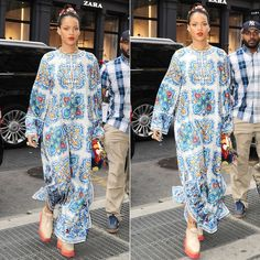 Rihanna In Dolce & Gabbana Printed Silk Caftan - Haus of Rihanna Stella Mccartney Platform, Rihanna Fenty, Fashion Photo, Street Style, Style Inspiration, Jennifer Fisher, Printed Silk, My Style, Platform Shoes
