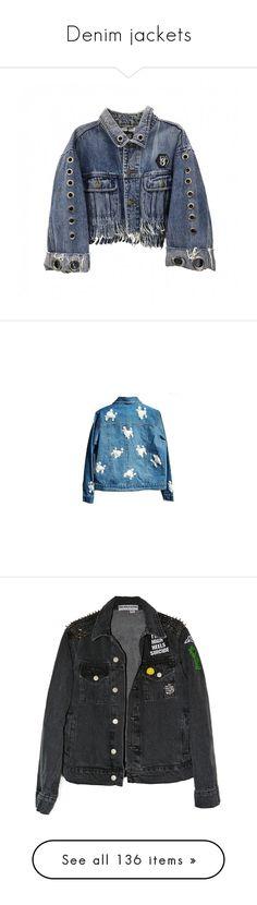 """Denim jackets"" by alina-chipchikova ❤ liked on Polyvore featuring outerwear, jackets, denim, coats, coats & jackets, blue jean jacket, blue denim jacket, fringe jean jacket, fringe jacket and blue fringe jacket"