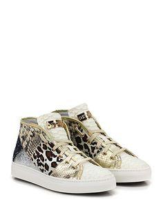 STOKTON - Sneakers - Donna - Sneaker in pelle laminata, pelle effetto pitone e cavallino con zip su lato esterno e suola in gomma. Tacco 35. - PANNAMULTICOLOR - € 189.00