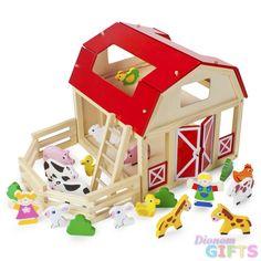 Wooden Wonders Busy Barnyard Farm Animals Playset