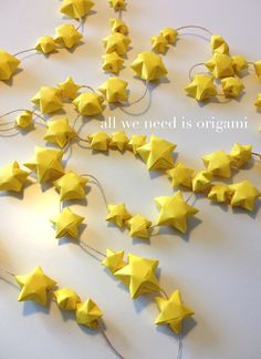 origami garland-group project for students who finish early Origami Garland, Ribbon Garland, Star Garland, Origami Stars, Summer Crafts, Crafts For Kids, Neon Crafts, Baby Boy Nursery Decor, Nursery Ideas