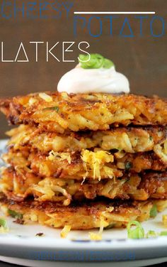 Potato and Cheese Latkes-Creole Contessa. Made two batches of them using fresh (not frozen) potatoes. Second batch added salt to help drain the moisture, and that was a game changer. Delicious with just enough heat! Potato Dishes, Food Dishes, Side Dishes, Comida Kosher, Potato Latkes, Potato Pancakes, Cheese Pancakes, Good Food, Yummy Food
