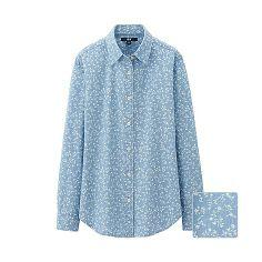 WOMEN Denim Print Long Sleeve Shirt
