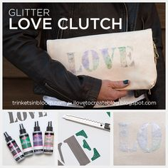 Create a super cute and on trend DIY Love Clutch with this simple step by step tutorial using Tulip's Spray Glitter, make one for yourself or for a gift. Leather Jewelry Tutorials, Fun Crafts For Teens, Diy Fashion Accessories, Diy Handbag, Diy Tutorial, Purses And Bags, Glitter, Bloom, Diy Bags
