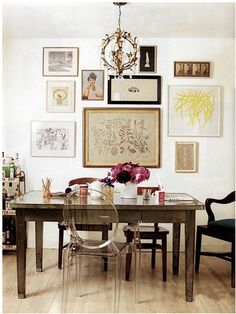 I like the idea of mixing and matching dining room chairs, and the mix of modern and vintage