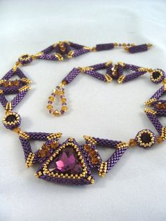 Triangulations Beaded Necklace by ChristmasCreation on Etsy. This is Pretty! Beaded Necklace, Beaded Bracelets, Beaded Collar, Handmade Beaded Jewelry, Imitation Jewelry, Beads And Wire, Bead Weaving, Artisan Jewelry, Beading Patterns