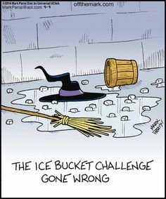 "Ice bucket challenge perpetrated on the wicked witch of the West in the land of Oz, she was heard to say:- ""I'm meltiggggggg ! "" as she 'mysteriously' vanished WATER police going to do to resolve this disappearance ? Funny Cartoons, Funny Comics, Funny Memes, Hilarious, It's Funny, Halloween Cartoons, Halloween Fun, Halloween Humor, Halloween Witches"