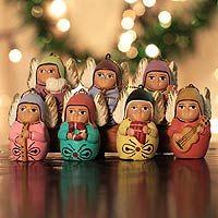 """Keramické ozdoby, """"andělský chór"""" (sada 7) - Unikátní vánoční keramické ozdoby (sada 7)"""