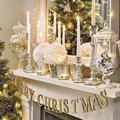 christmas living room with silver and gold mantel display christmas living room decor white christmas - Gold Christmas Decorations