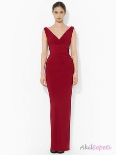 Vişne Rengi V Yaka Elbise Modelleri
