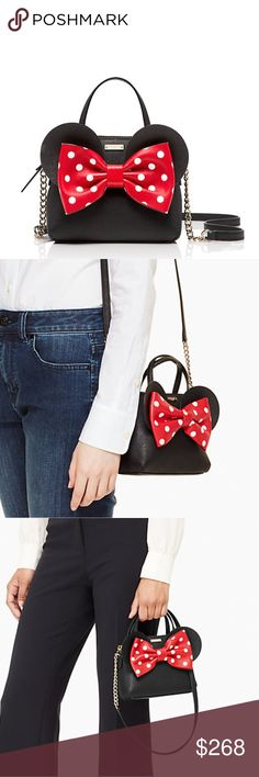 minnie mouse minnie maise Come and grab this beautiful and cute purse with the new crosshatched leather that go-anywhere style, starting with the choice of straps attach the optional shoulder strap to wear it crossbody and more casual or keep things sleek when you're on the clock by toting from the hand straps. a zip top closure keeps your essentials safe and the classic, clean-lined shape lends easy elegance. kate spade Bags Crossbody Bags
