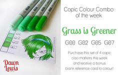 This week's Copic Colour Combo is inspired by the weekend's celebrations of Australia Day ... half our nations sporting colours, called Grass is Greener.  This is a super bright green combo, perfec...