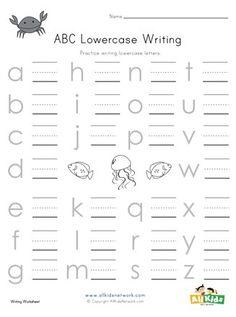 Ocean themed lowercase alphabet worksheet Science Worksheets, Alphabet Worksheets, Worksheets For Kids, Letter R Activities For Kindergarten, Printable Activities For Kids, Uppercase Alphabet, Writing Practice, Lowercase A, Lower Case Letters