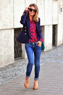 gingham shirt; navy blazer; jeans | fall | ♦ |