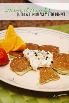 Fun Shamrock pancakes
