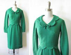 vintage 60s green wool dress