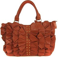 ddf332846f Image detail for -Designer Handbags Ladies Brown Ruffle   Stud Designer  Handbag  louisvuitton  handbags  purses
