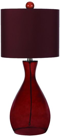 Mercer hand blown glass table lamp royal red