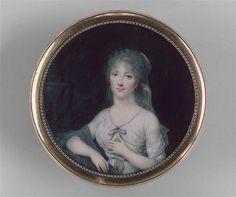 Marquise de Montalembert, 1790 by Jean Baptiste Isabey (1767-1855). Miniature sur ivoire