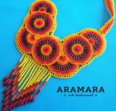 Arte Huichol mexicana cuentas collar CRG-0004 Huichol Crochet Necklace, Beaded Necklace, Right Angle Weave, Native American Beadwork, Bead Weaving, Custom Jewelry, Beading, Hand Crafts, Etsy