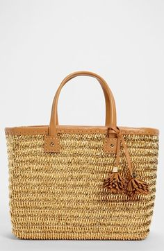 Tory Burch metallic straw tote.